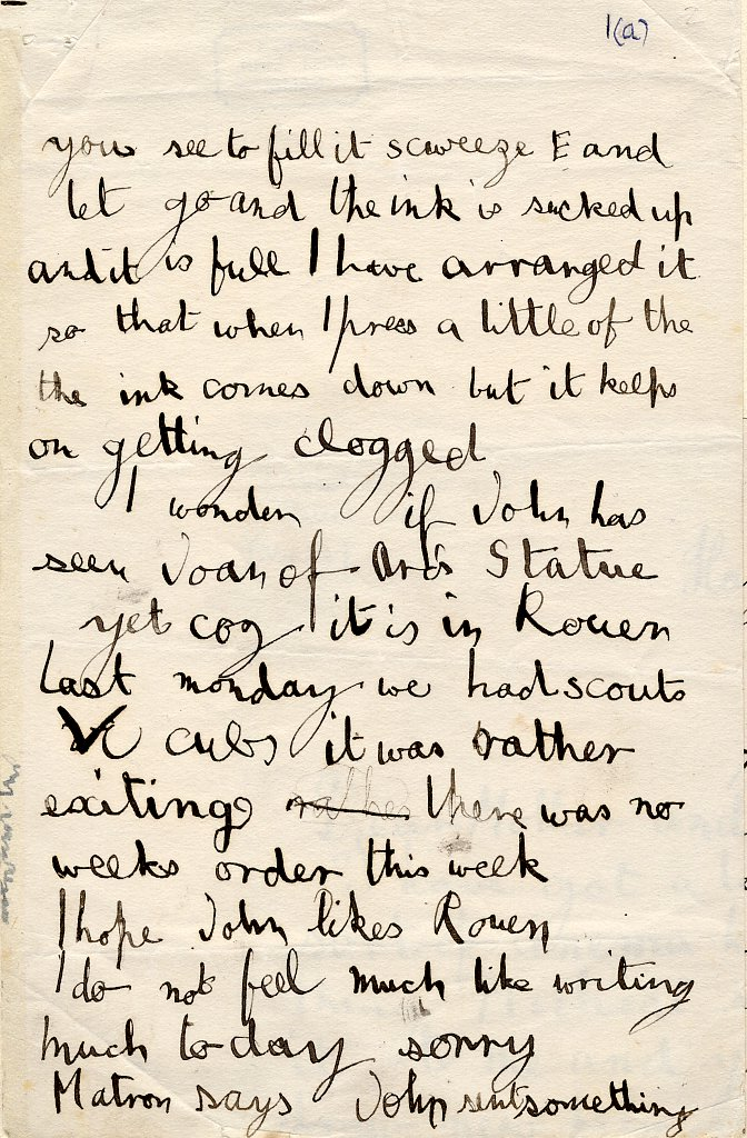 Second page of a letter to his parents regarding an invention, an ink pen and ink. [AMT/K/1/1]