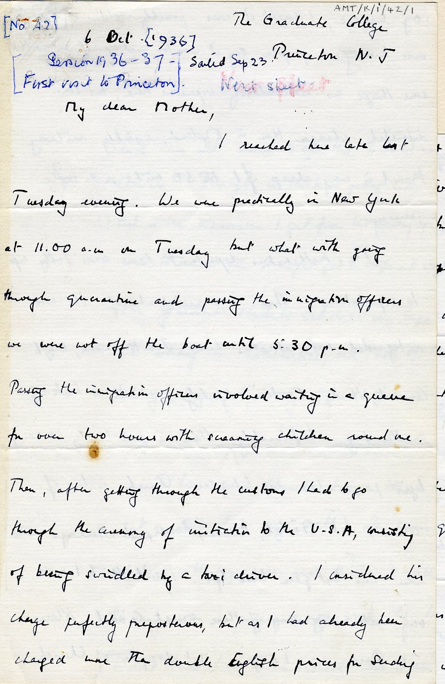 First page of a letter to his mother dated 6 October 1936. [AMT K/1/42]