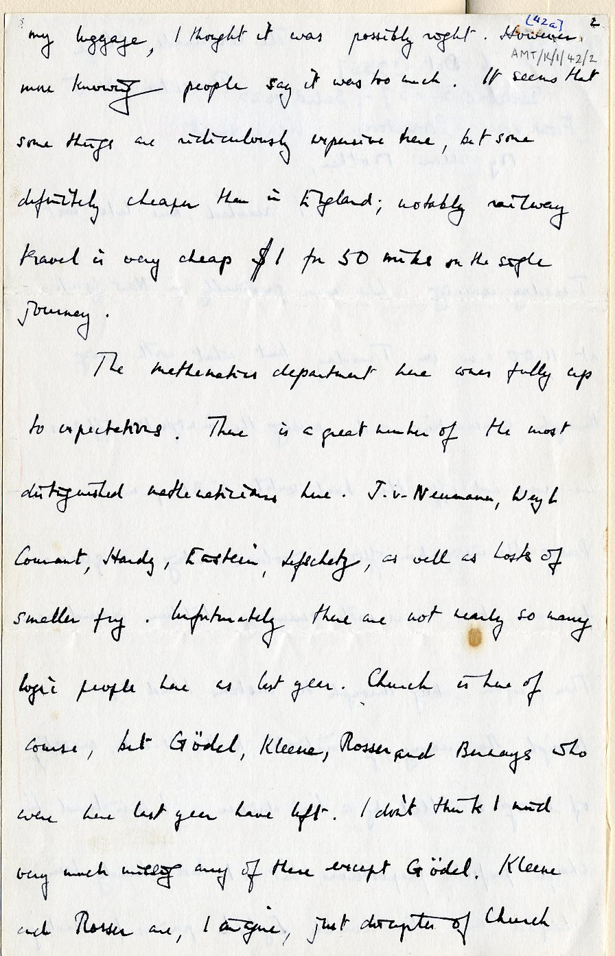 Second page of a letter to his mother dated 6 October 1936. [AMT K/1/42]
