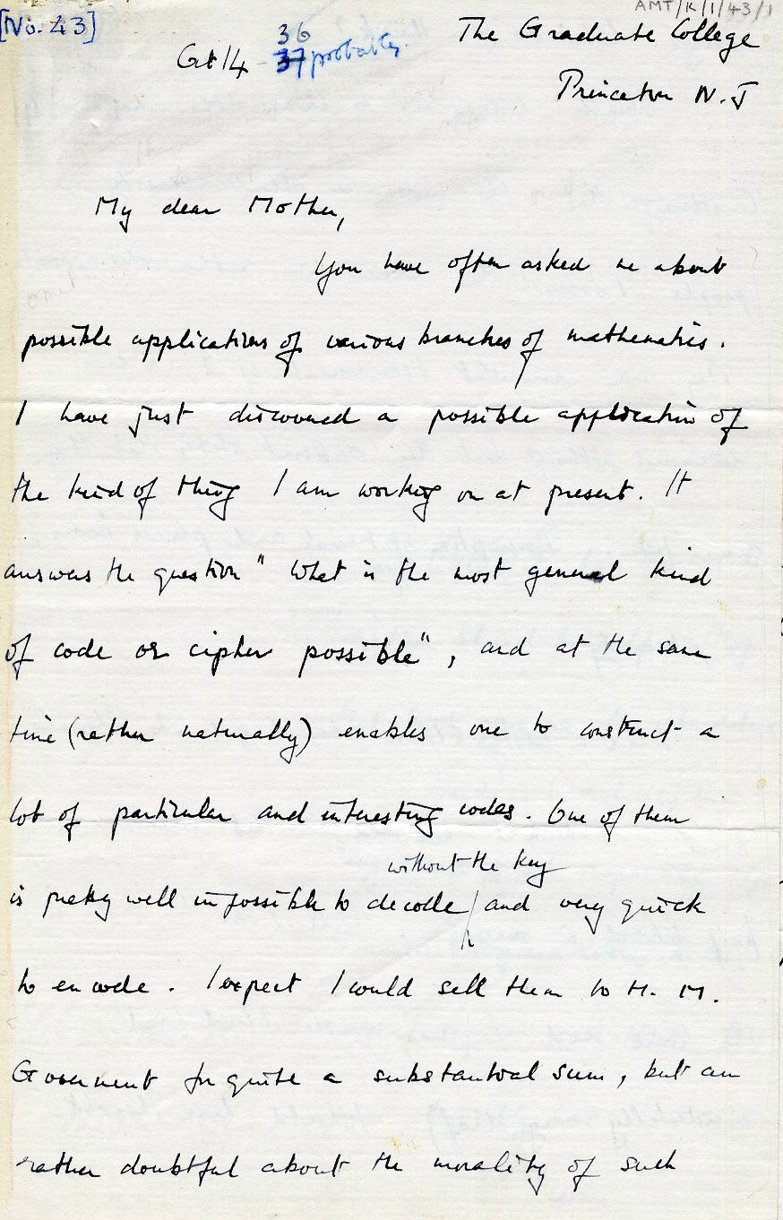 First page of a letter to his mother dated 14 October 1936. [AMT K/1/43]