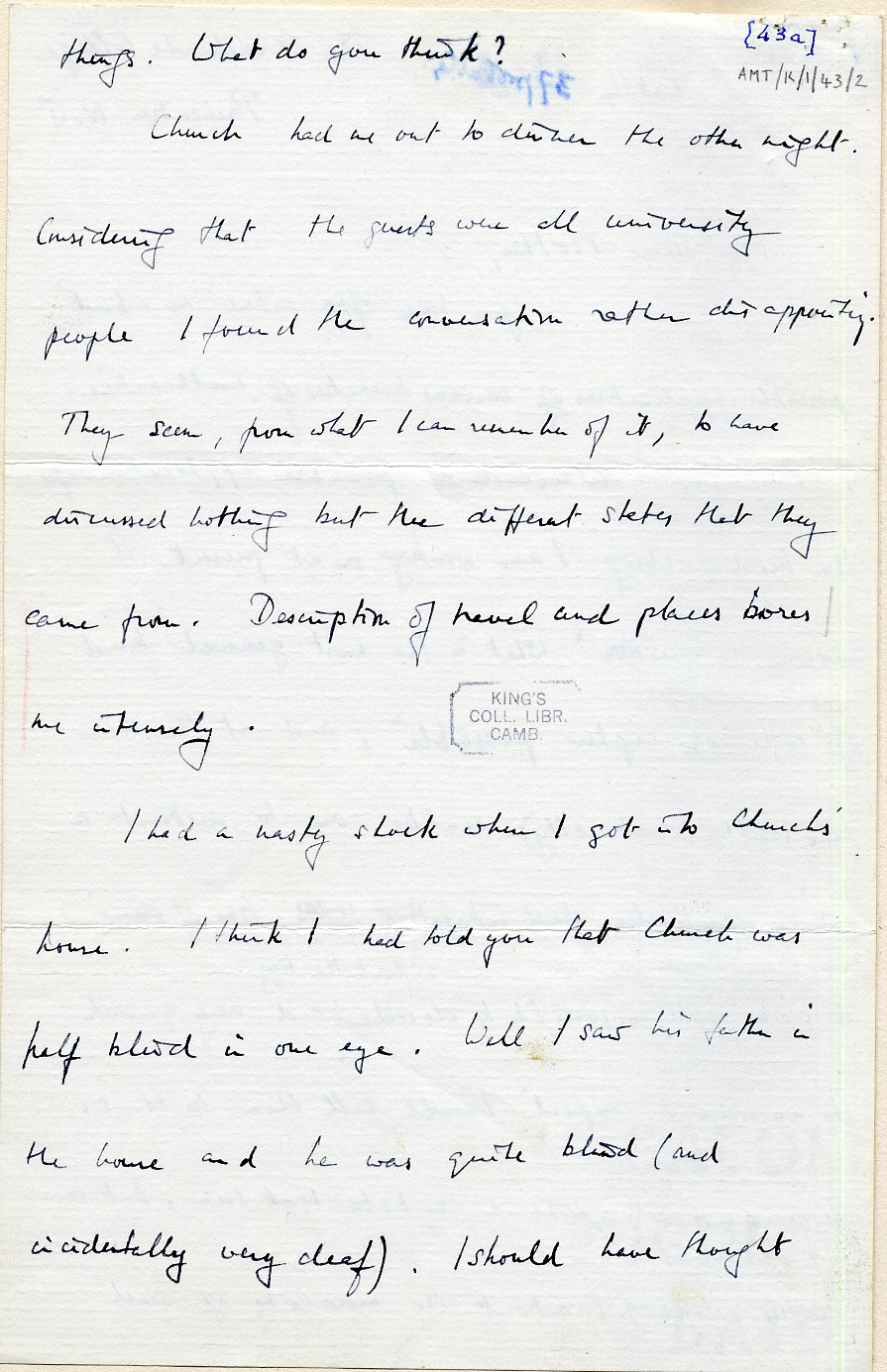 Second page of a letter to his mother dated 14 October 1936. [AMT K/1/43]