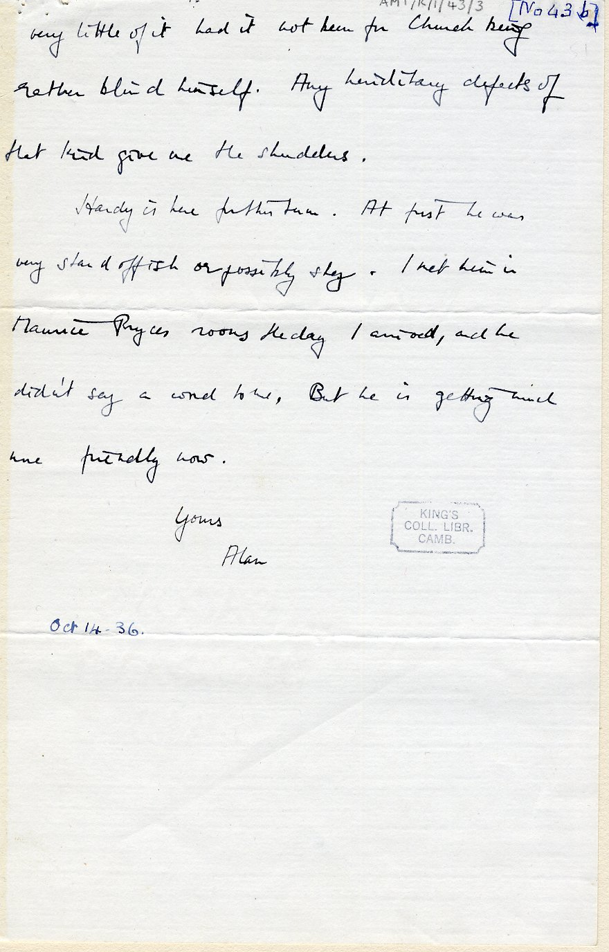 Third page of a letter to his mother dated 14 October 1936. [AMT K/1/43]