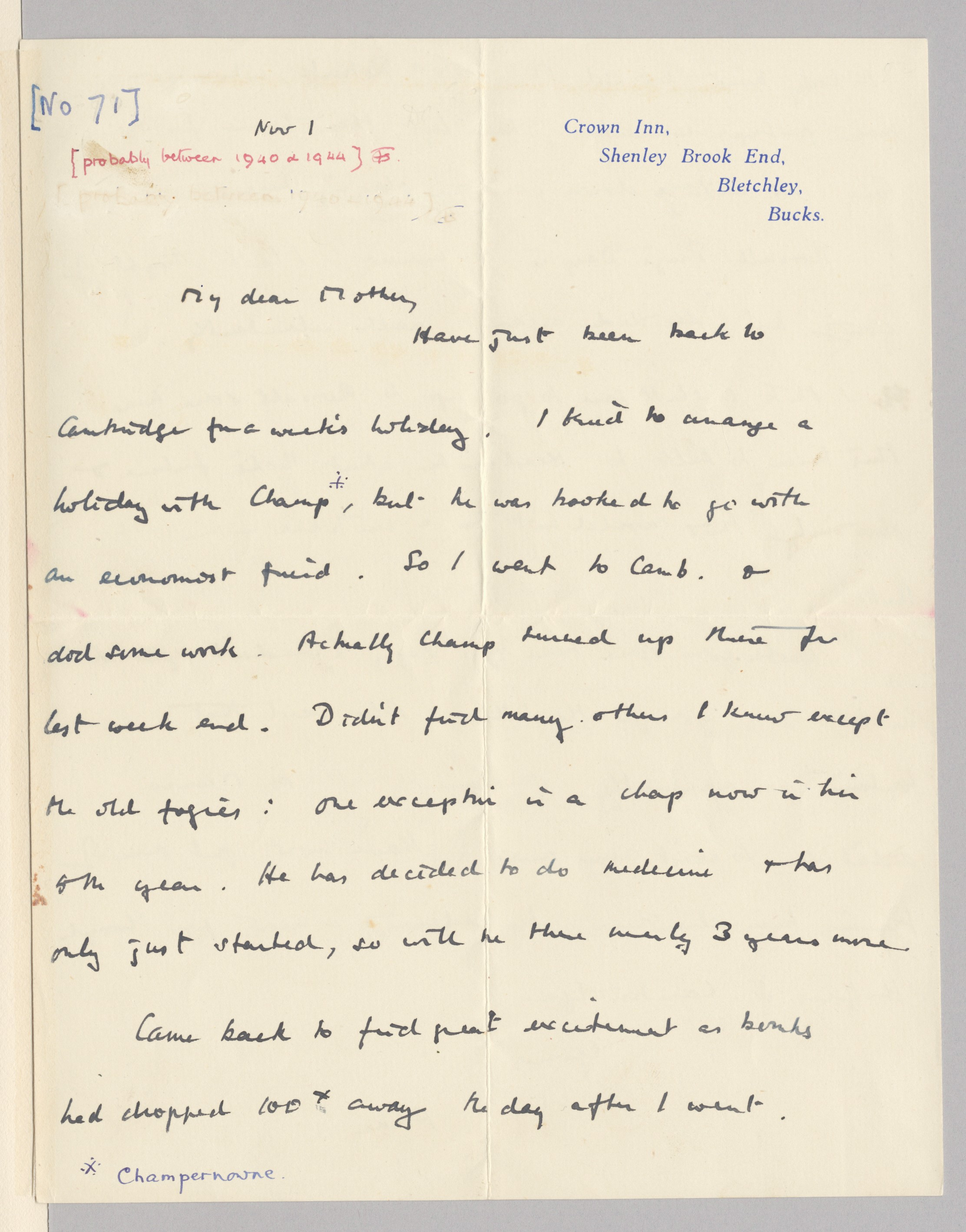 First page of a letter to his mother dated 1 November (no year) .  [AMT K/1/71]