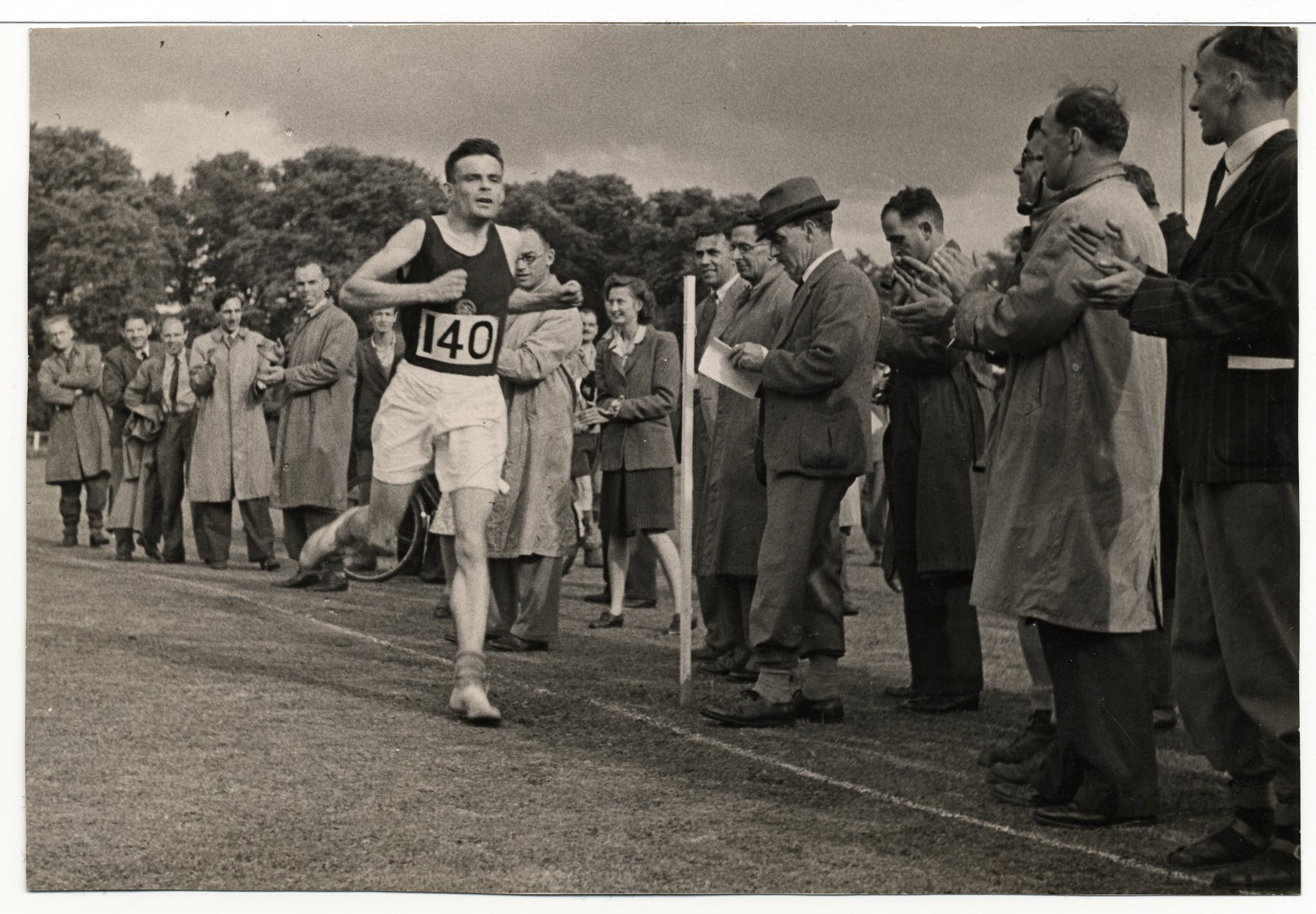 Turing coming second in a three-mile race at Walton, 26 December 1946.  [AMT K/7/8]