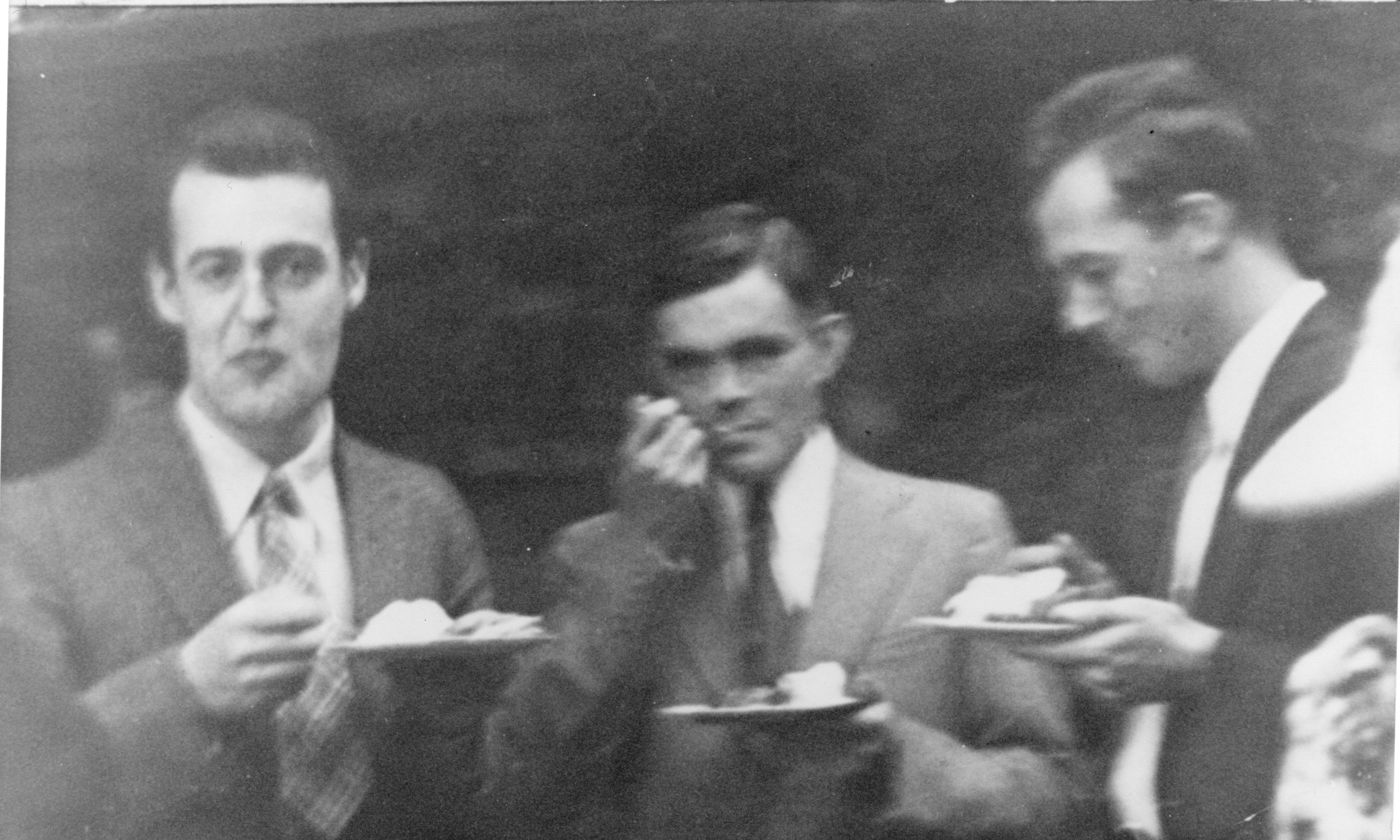 Snapshot of Turing, A. Venable Martin and another man at Princeton. [AMT/K/7/35]
