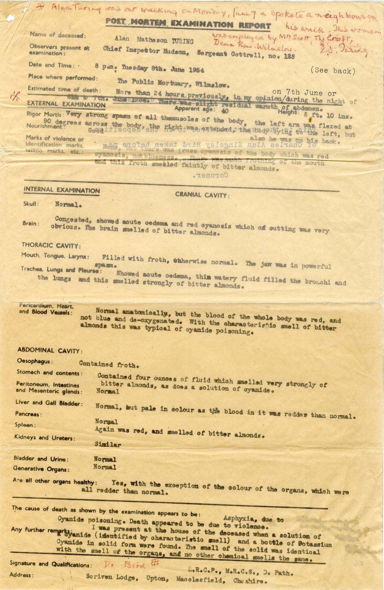 Post mortem examination report.  [AMT K/6]