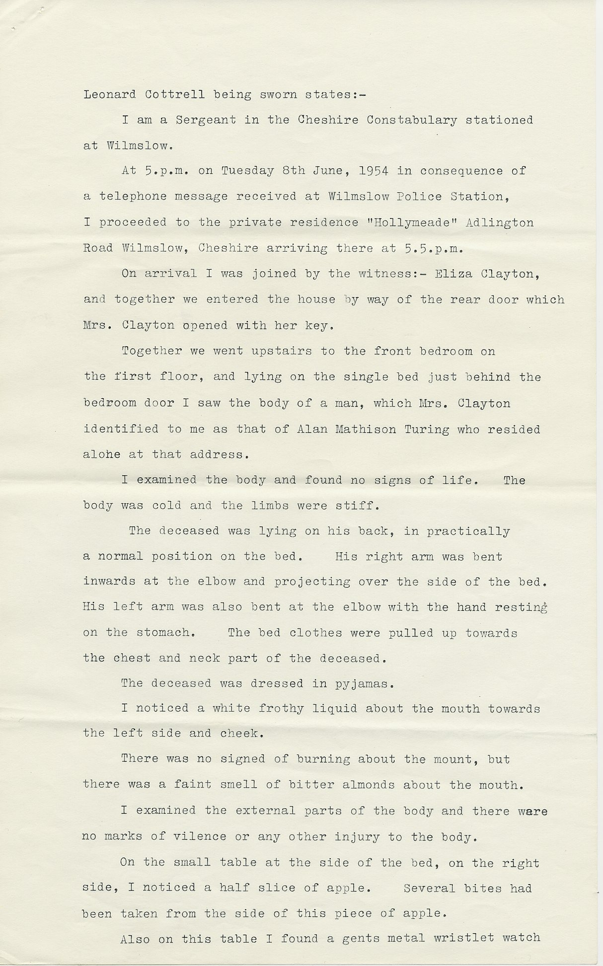 First page of Leonard Cottrell's deposition.  [AMT K/6]