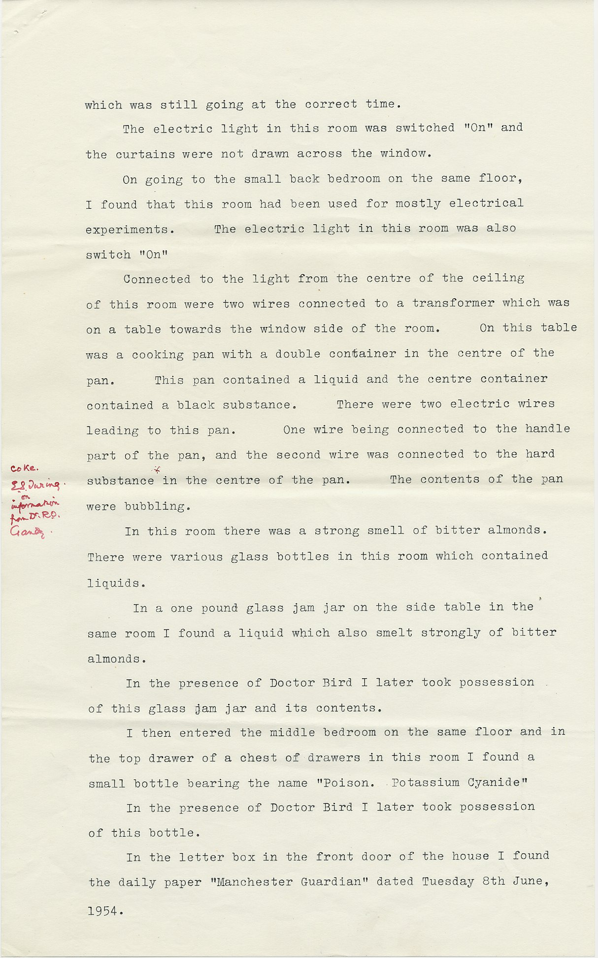 Second page of Leonard Cottrell's deposition.  [AMT K/6]