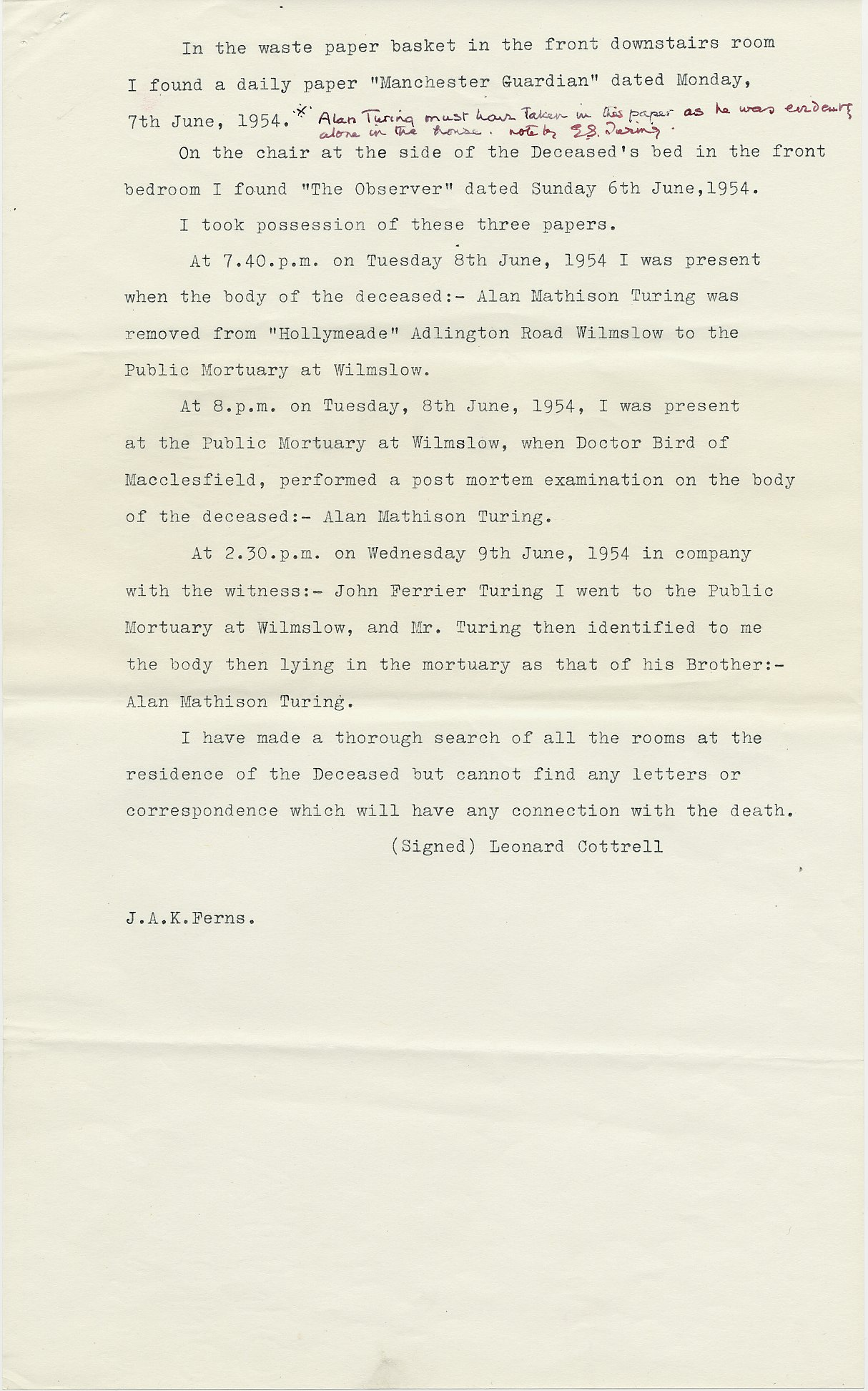 Third page of Leonard Cottrell's deposition.  [AMT K/6]