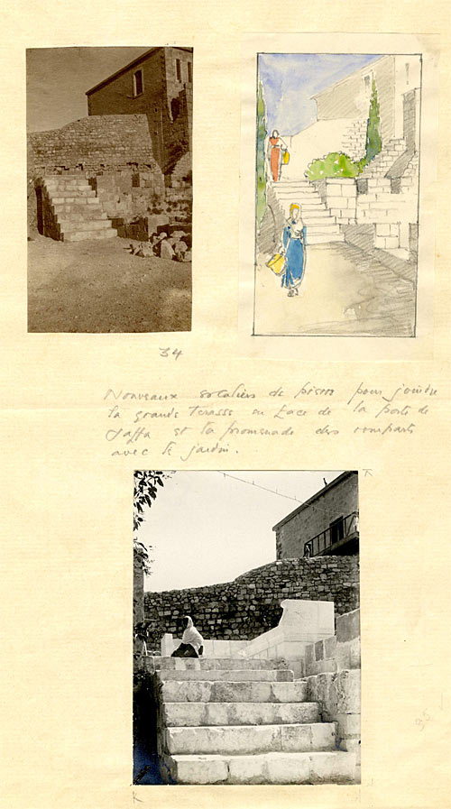 The steps linking the Jaffa Gate with the Rampart Walk and gardens by CRA. [c.1920]