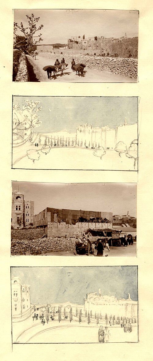 Pack mules on the road, Jerusalem by CRA. [c.1920]