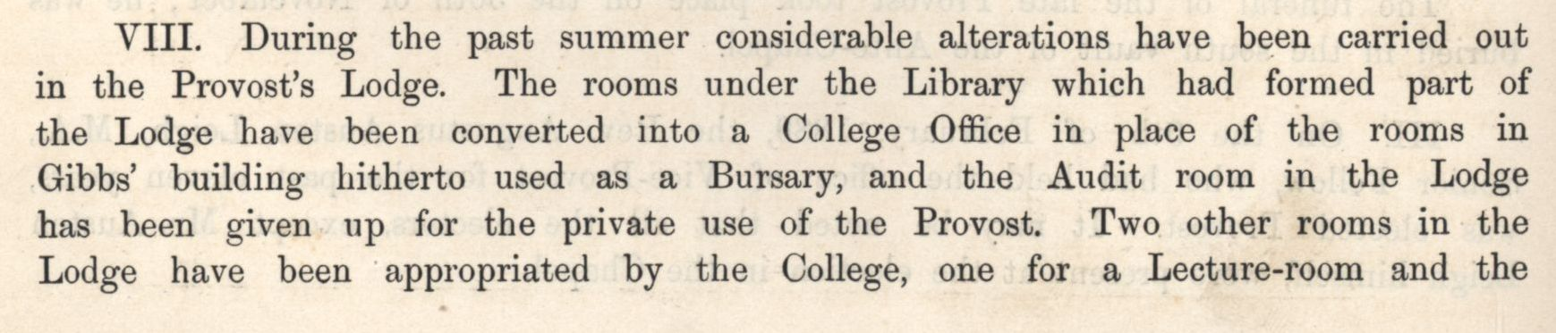 The moving of the Bursary out of the Gibbs building. [Annual Report, 1889]