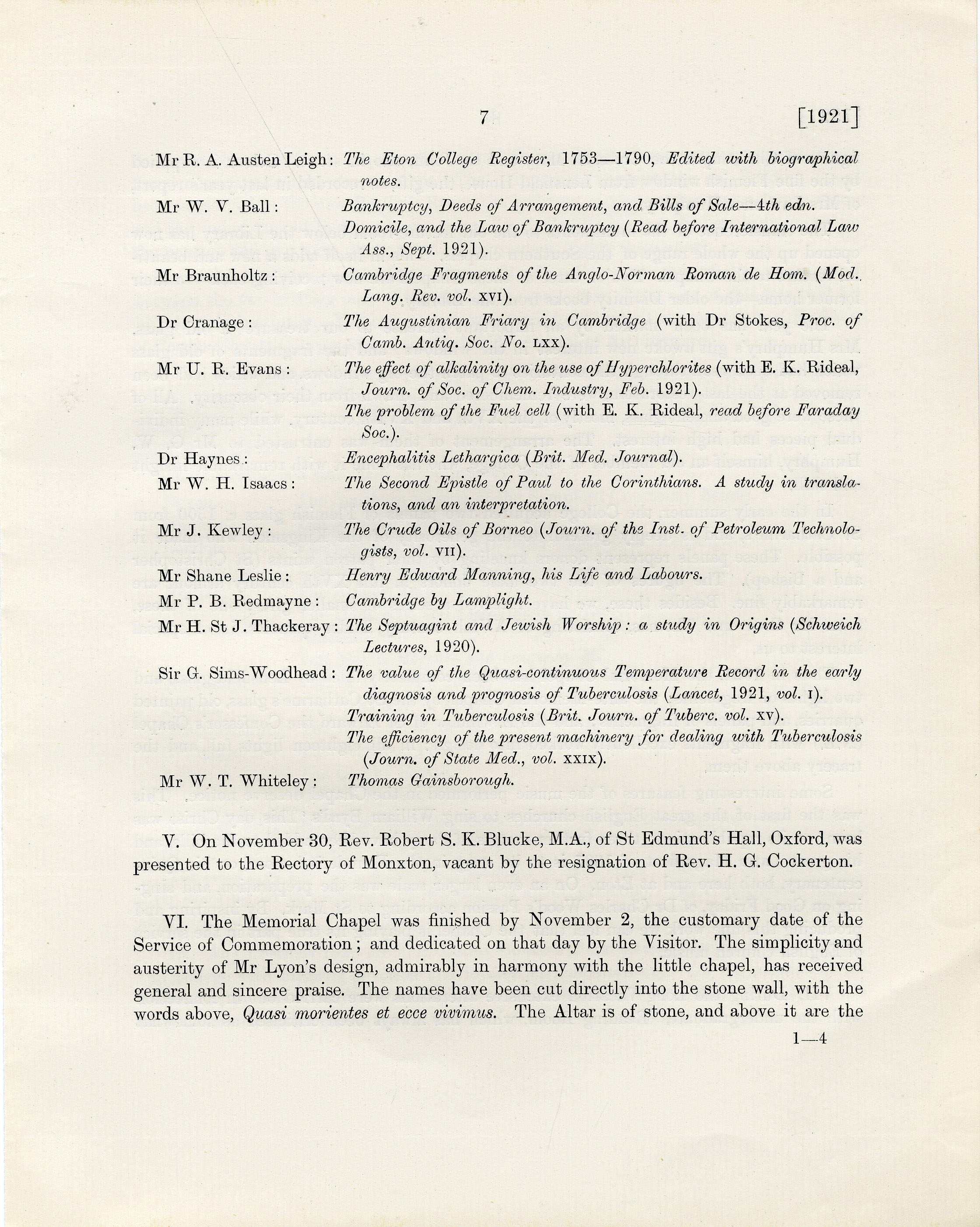 Opening of the Memorial Chapel, Annual Report of 1921 (p.7)