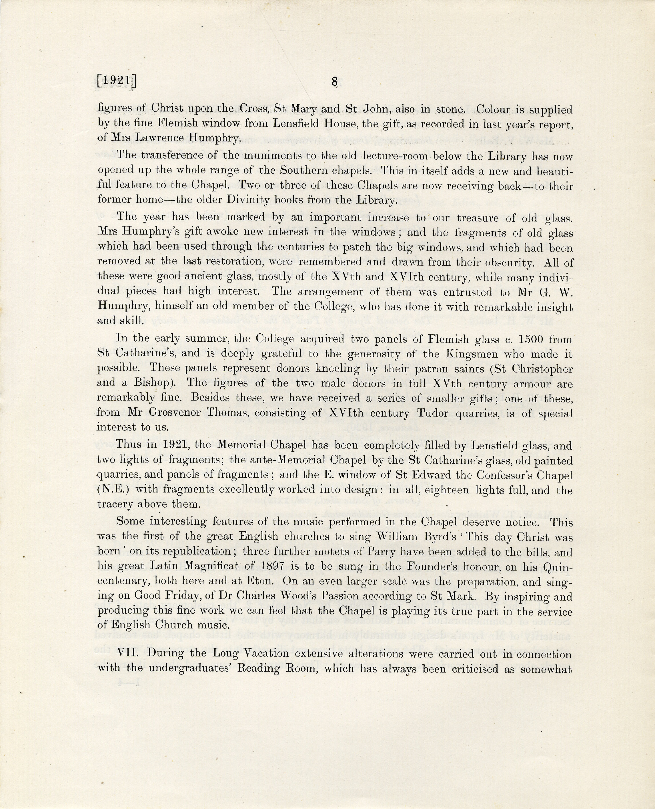 Opening of the Memorial Chapel, Annual Report of 1921 (p.8)