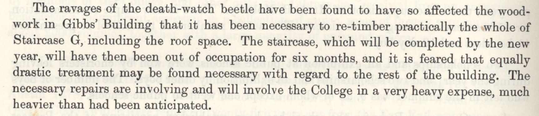The re-timbering of the whole of staircase G of the Gibbs building, due to damage caused by the death-watch beetle. [Annual Report, 1928]