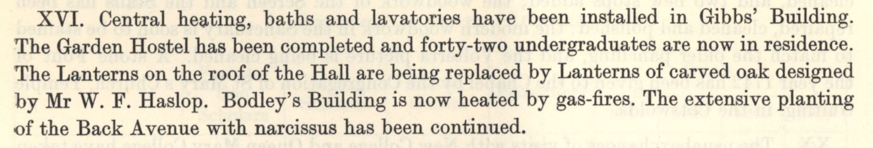 The installation of central heating, baths and lavatories in the Gibbs building. [Annual Report, 1950]