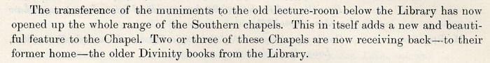 Entry in the 1921 Annual Report regarding the muniments room.