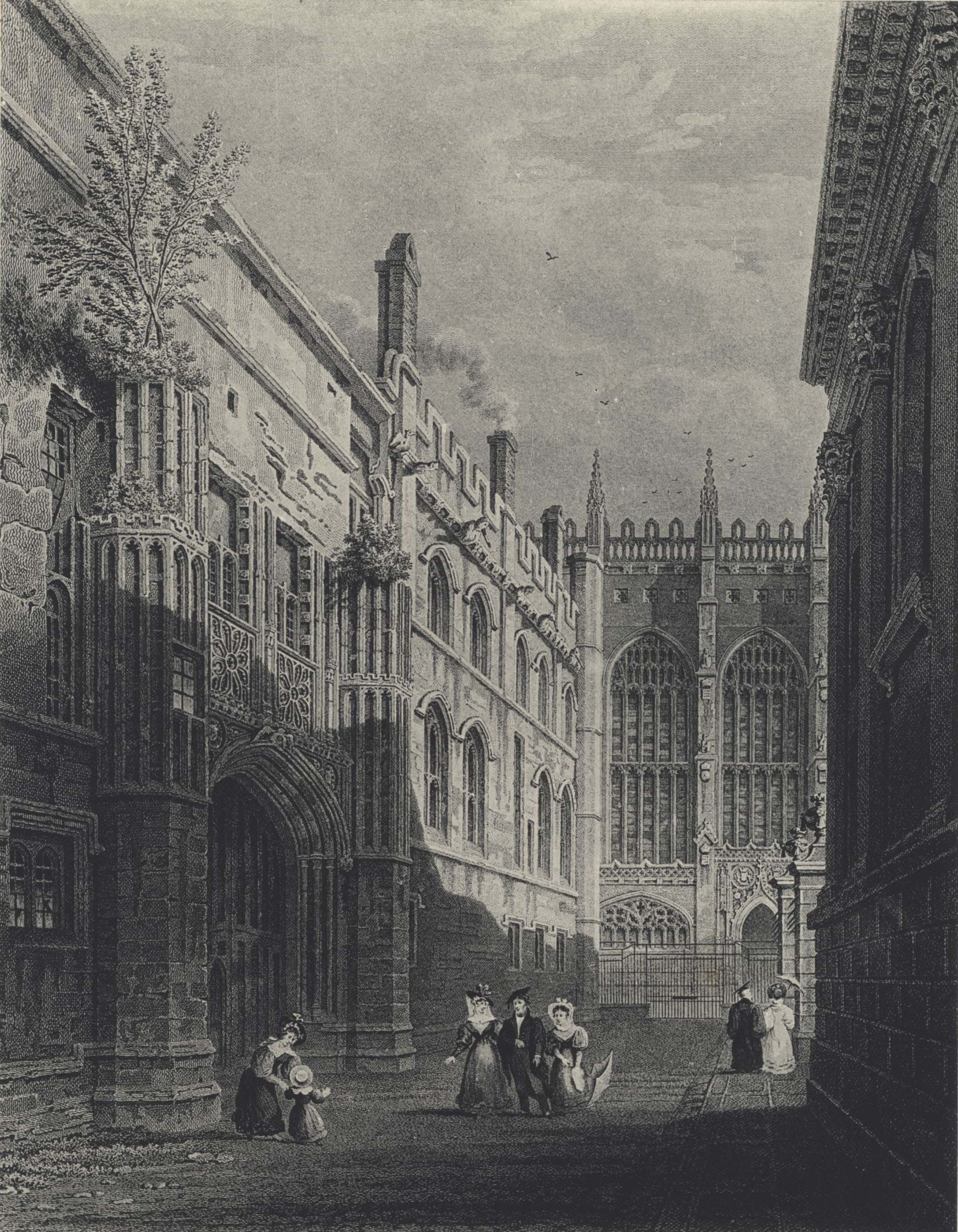 Undated view of the west side and gateway of the Old Court, by Storer. [Bygone King's, plate VIII]