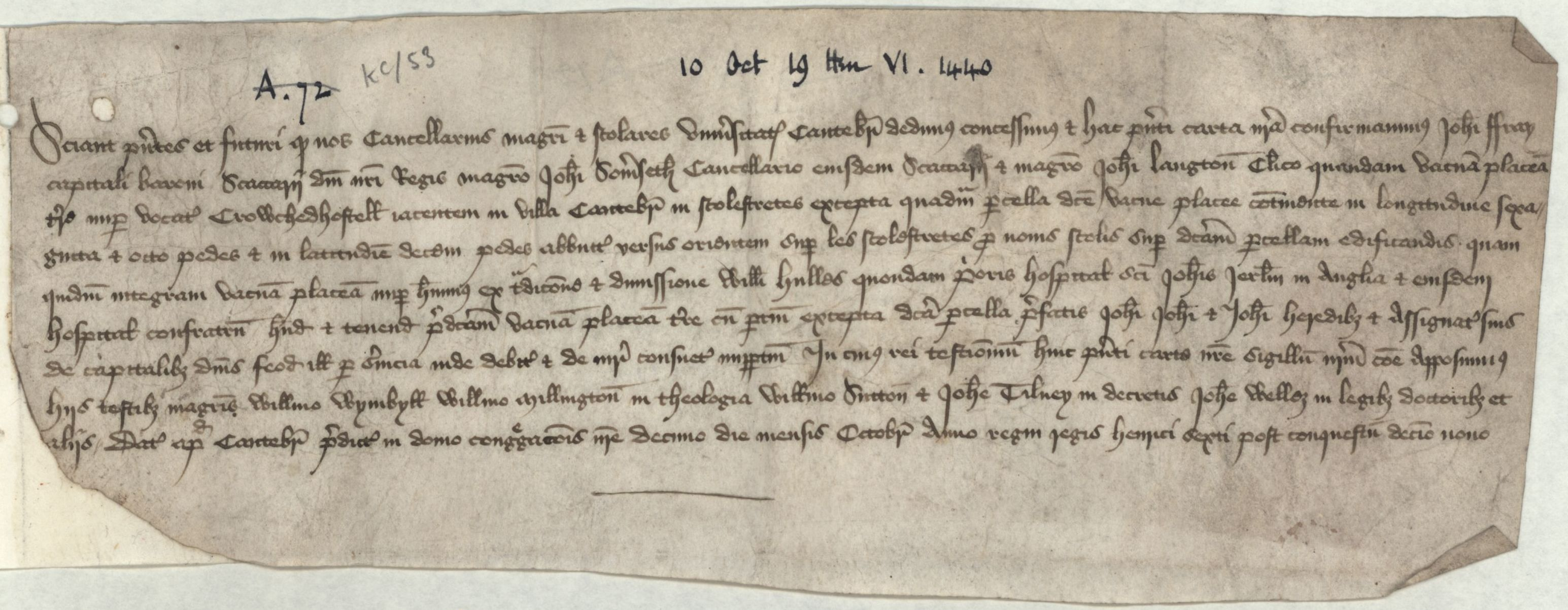 Conveyance of Crouched Hostel, dated 10 October 1440. [CAM/6, formerly KC Mun, A.72]