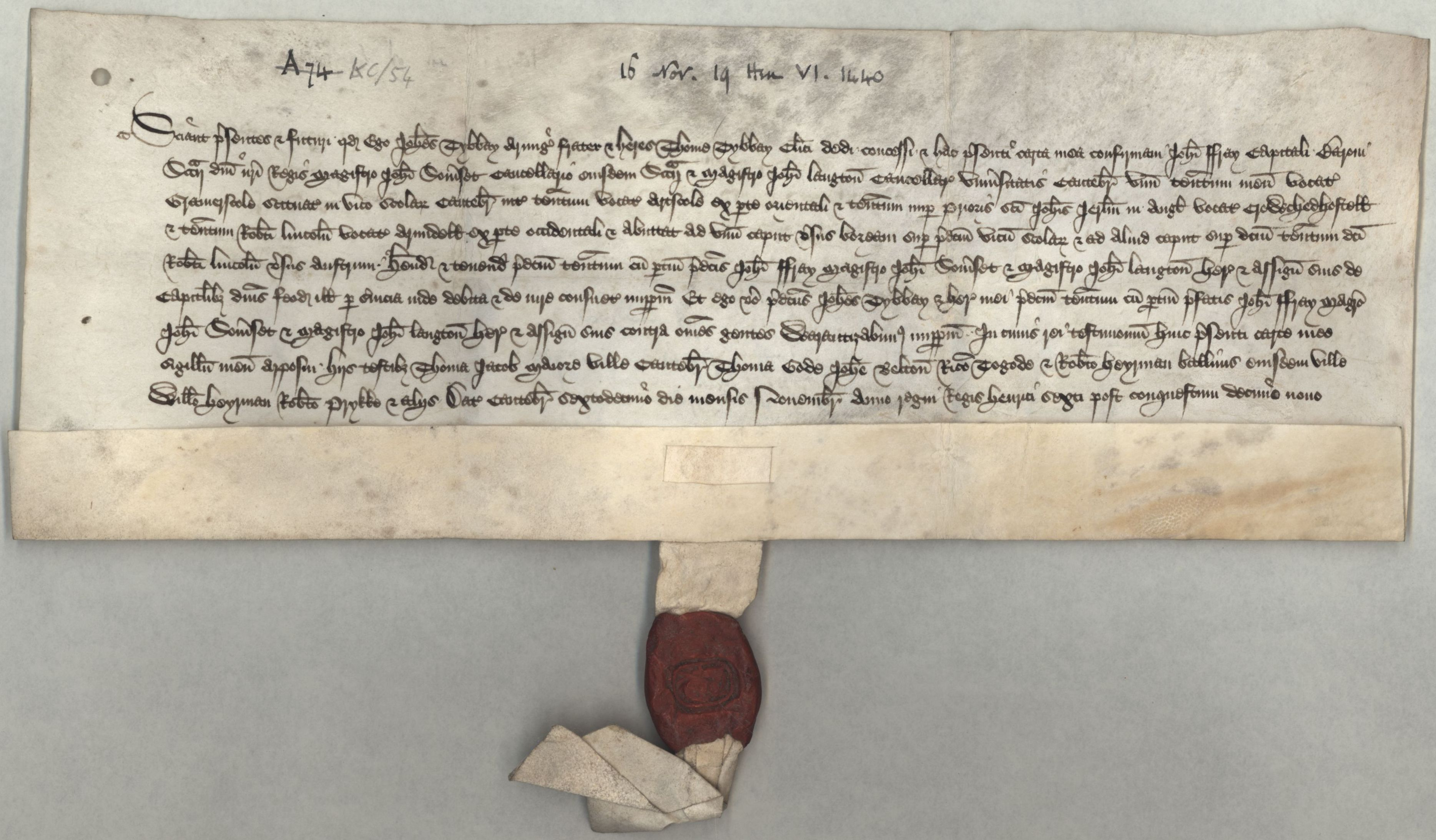 """Conveyance referring to """"Le Glomery Halle"""" as a tenement called """"Gramerscole"""", dated 16 November 1440. [CAM/7, formerly A.74]"""