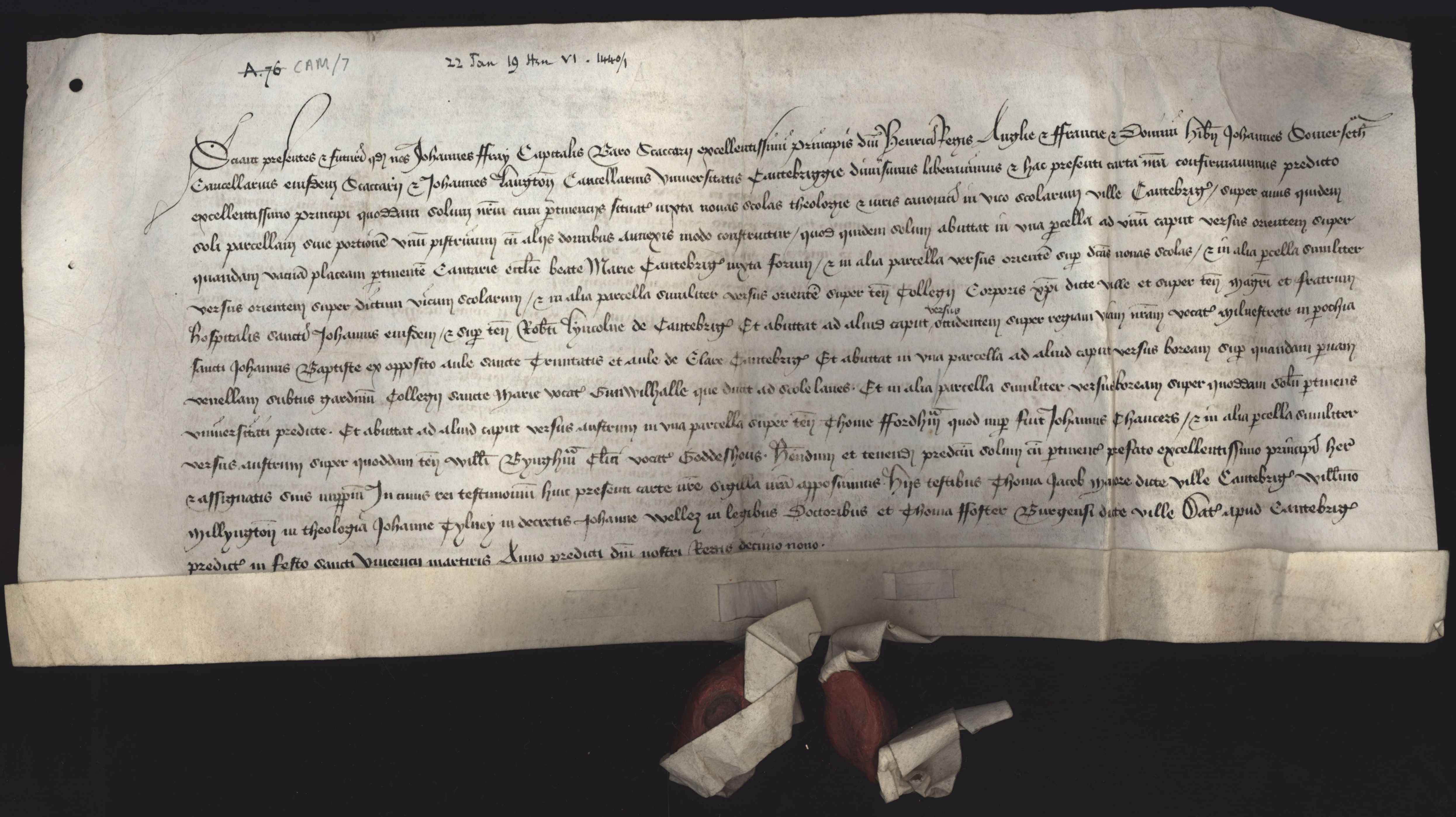 One of a bundle of deeds relating to grammar school tenement in Cambridge, resulting in John Bray, John Somerset and John Langton enfeoffing King Henry VI of it. [CAM/7, formerly A.76]