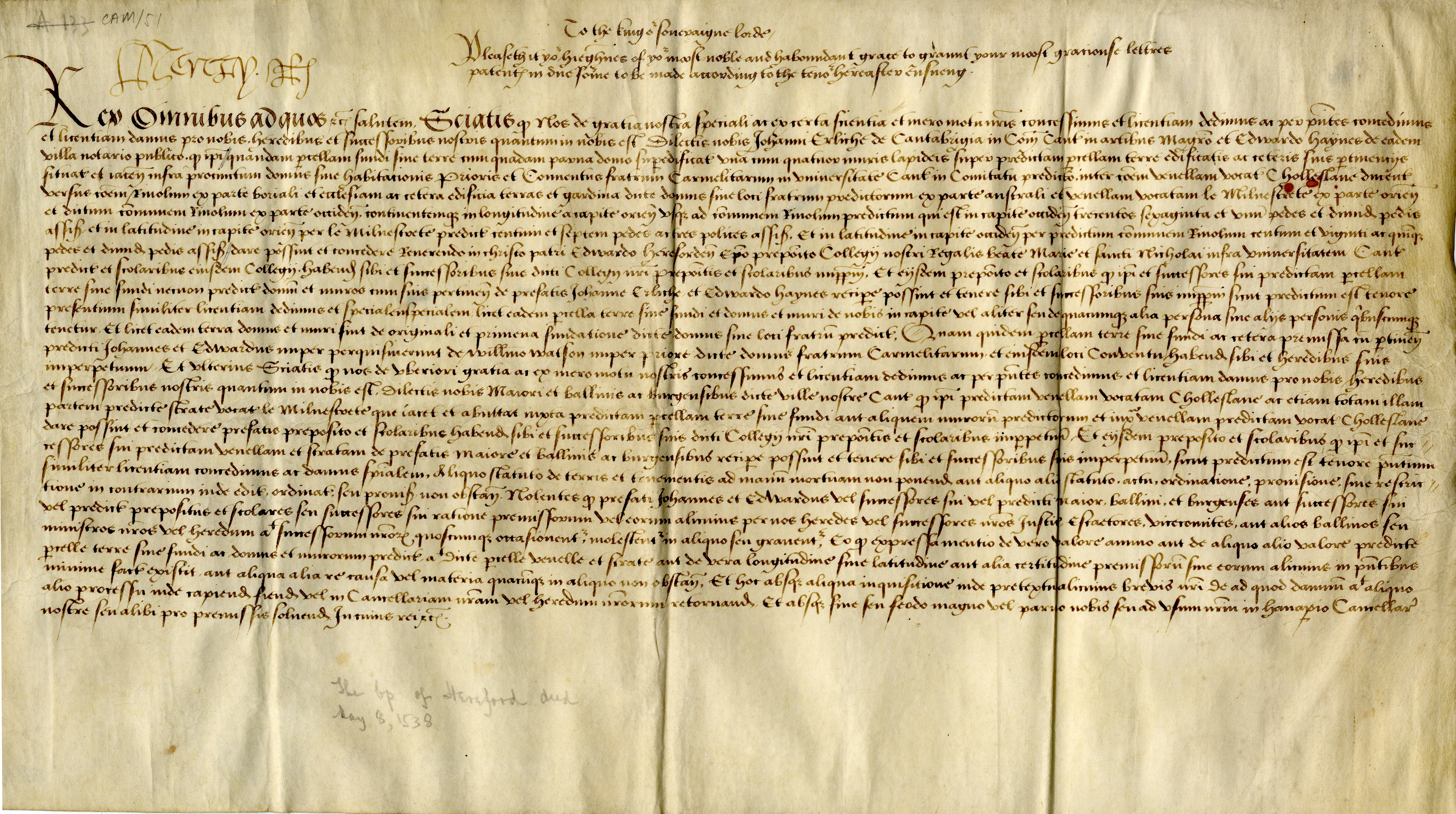 Authentic petition to King Henry VIII to grant letters patent, 1533-1538. (CAM/51, A.133)