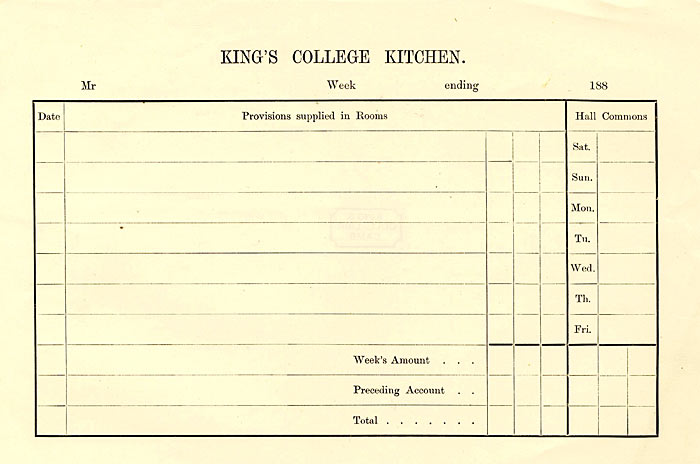 Order slip for canteen (1872)