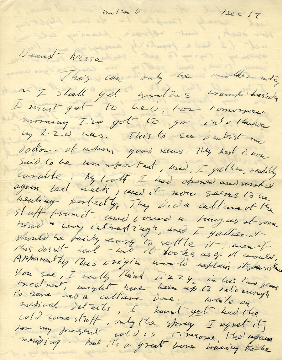 First page of a letter from Julian Bell to Vanessa Bell, 17 December 1935 (CHA/1/55/3/15).