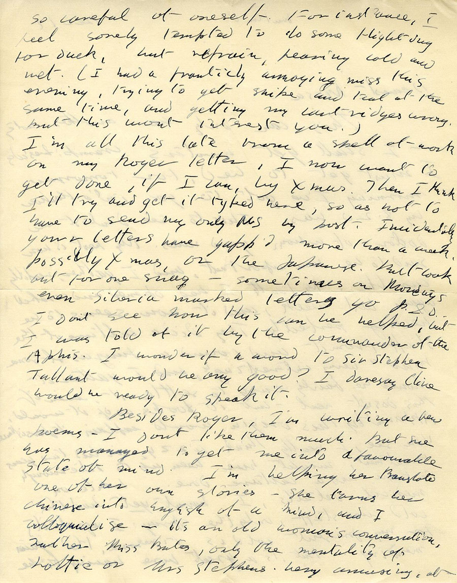 Second page of a letter from Julian Bell to Vanessa Bell, 17 December 1935 (CHA/1/55/3/15).