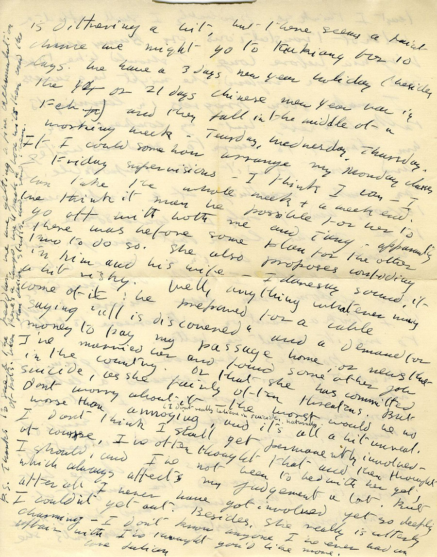 Fourth page of a letter from Julian Bell to Vanessa Bell, 17 December 1935 (CHA/1/55/3/15).