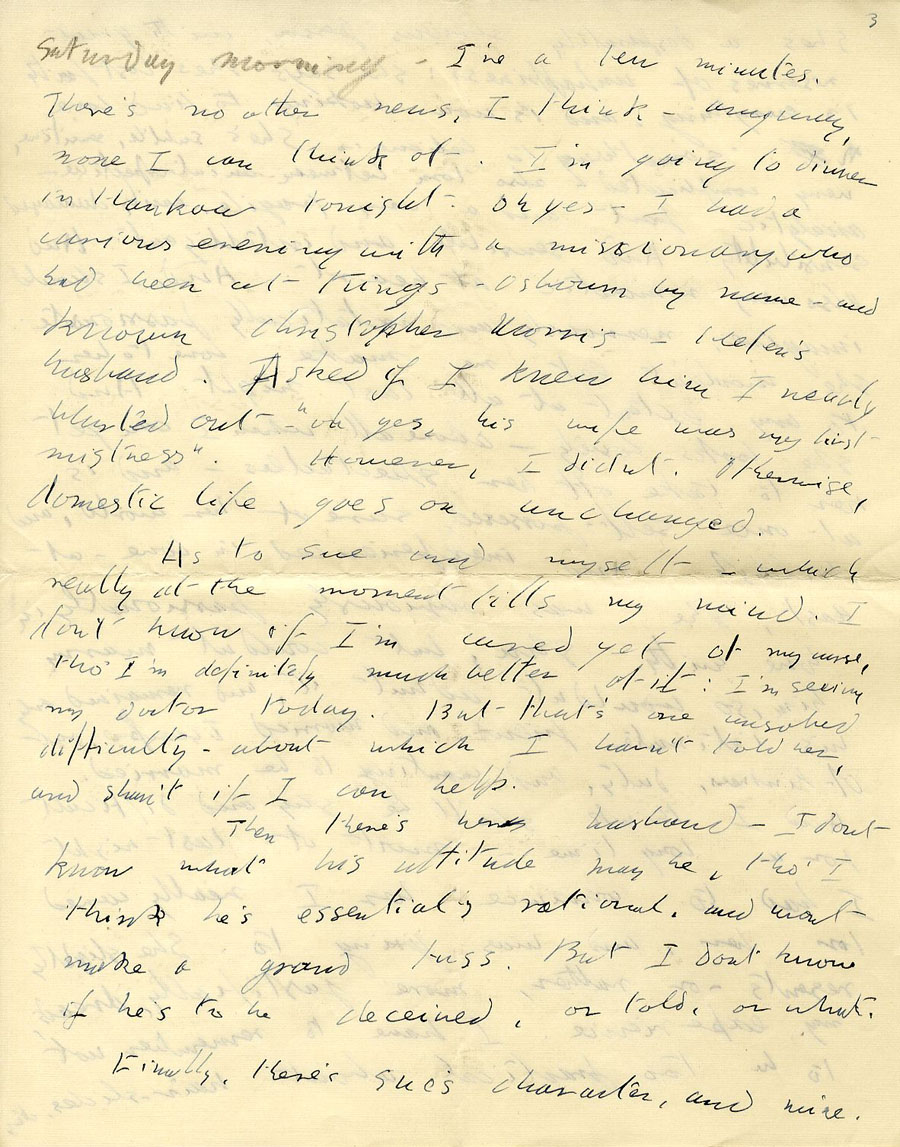 Fifth page of a letter from Julian Bell to Vanessa Bell, 17 December 1935, continuation on Saturday morning (CHA/1/55/3/15).