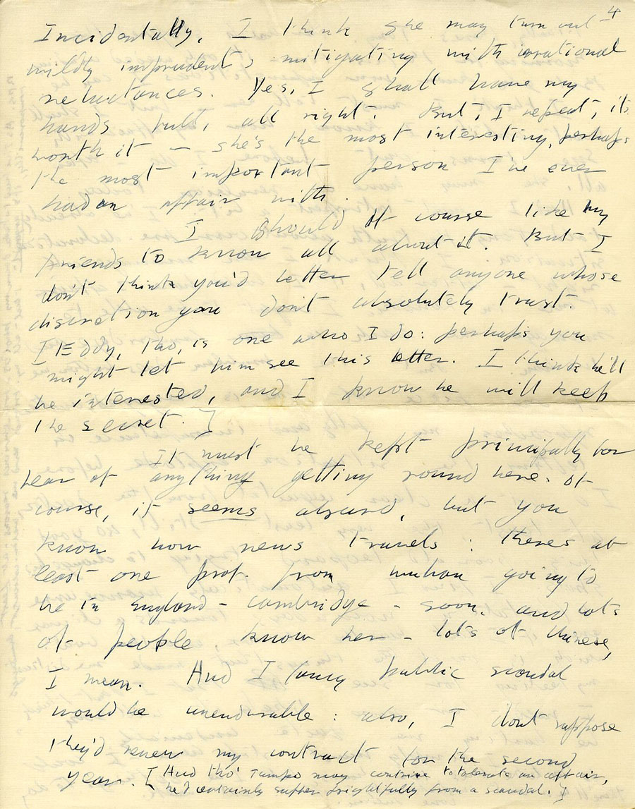 Seventh page of a letter from Julian Bell to Vanessa Bell, 17 December 1935, continuation on Saturday morning (CHA/1/55/3/15).