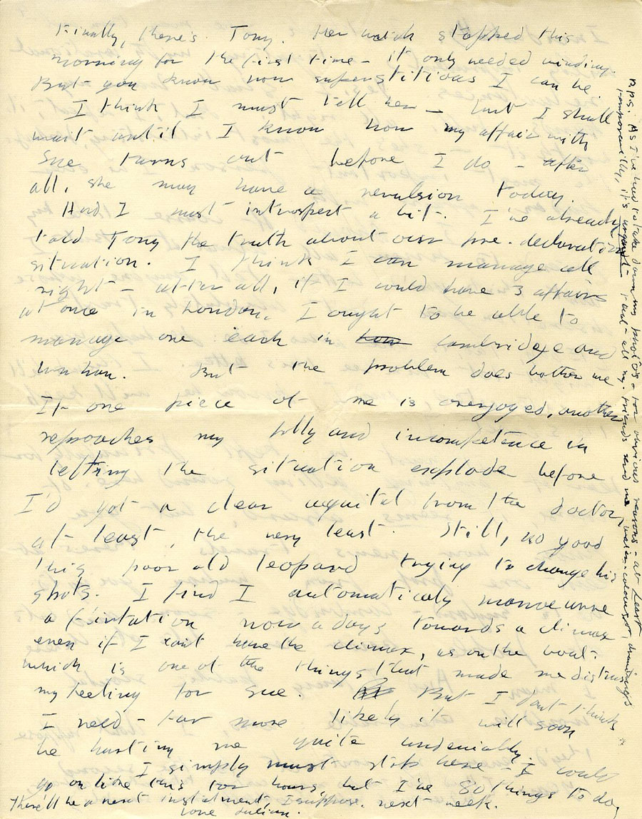Eighth page of a letter from Julian Bell to Vanessa Bell, 17 December 1935, continuation on Saturday morning (CHA/1/55/3/15).