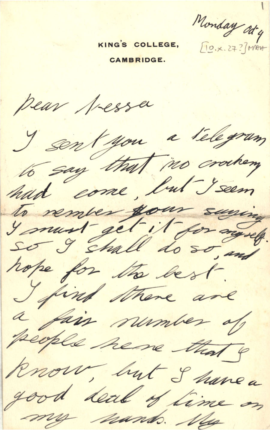 First page of a letter from Julian Bell to Vanessa Bell, 10 October 1927 (CHA/1/55/3/9).