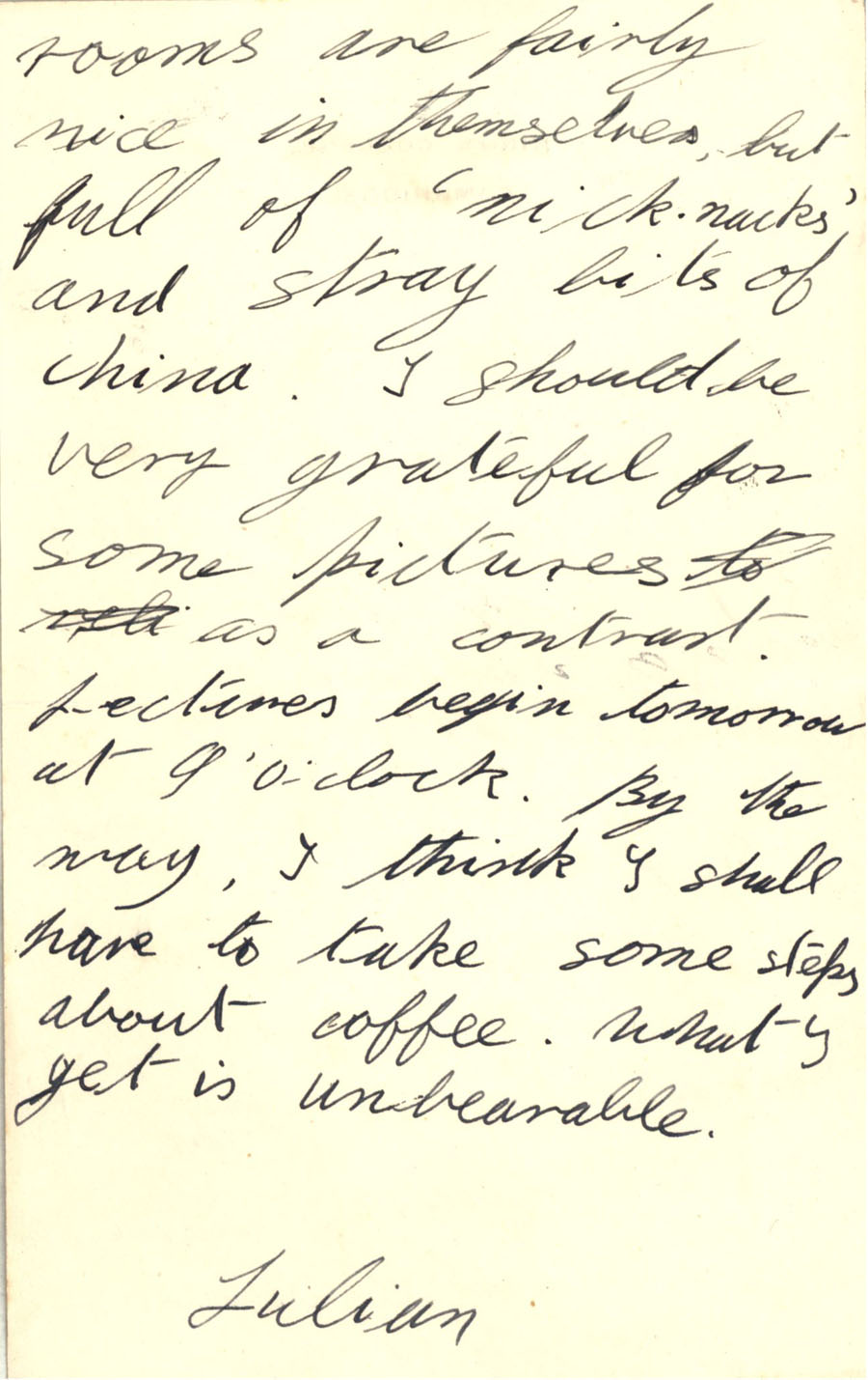 Second page of a letter from Julian Bell to Vanessa Bell, 10 October 1927 (CHA/1/55/3/9).