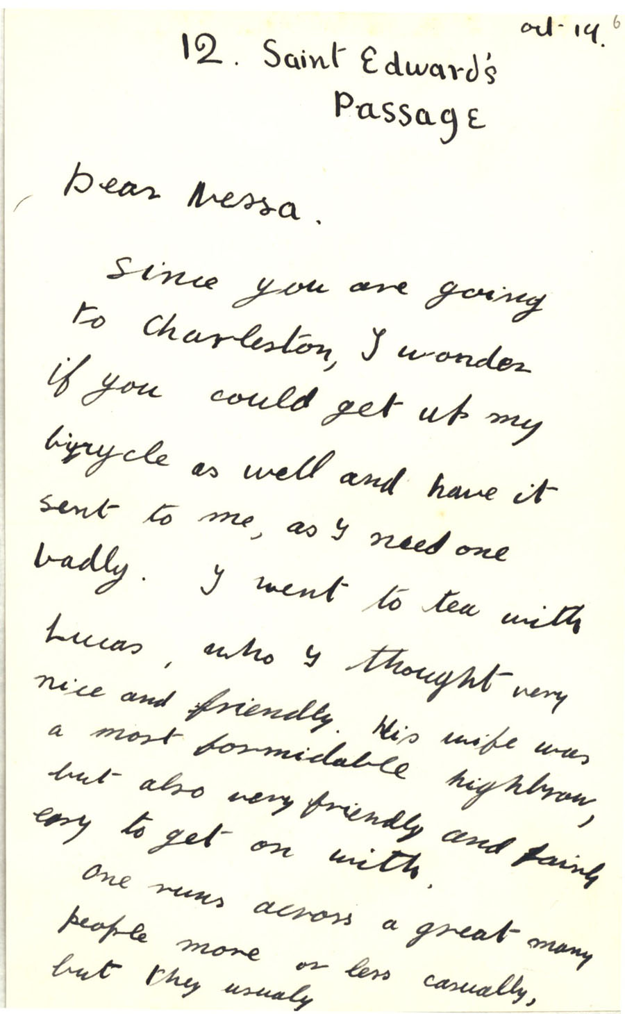 First page of a letter from Julian Bell to Vanessa Bell, 14 October 1927 (CHA/1/55/3/9).