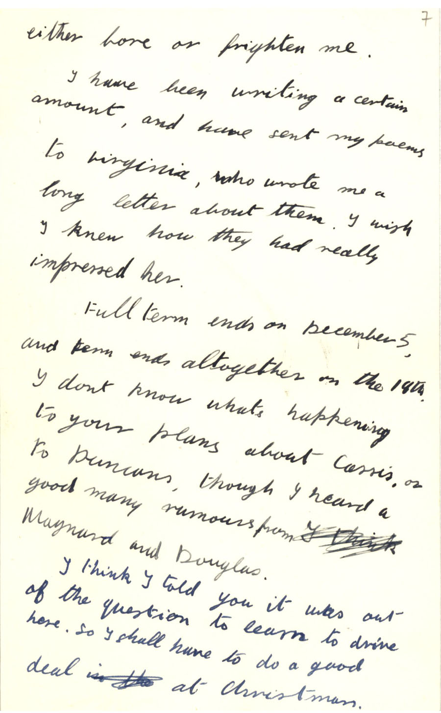 Second page of a letter from Julian Bell to Vanessa Bell, 14 October 1927 (CHA/1/55/3/9).