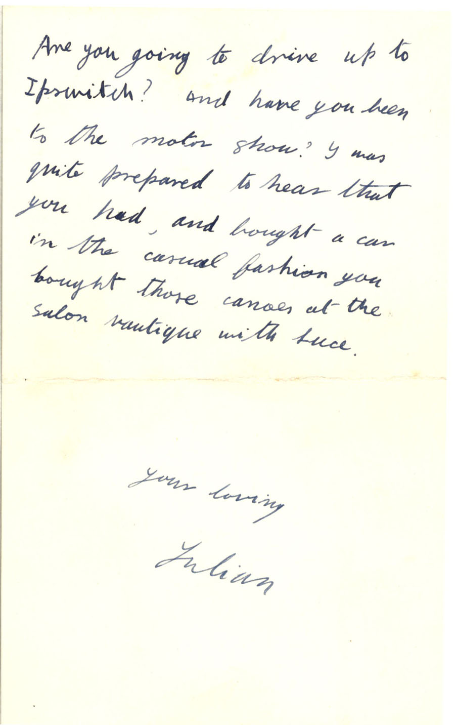 Third page of a letter from Julian Bell to Vanessa Bell, 14 October 1927 (CHA/1/55/3/9).
