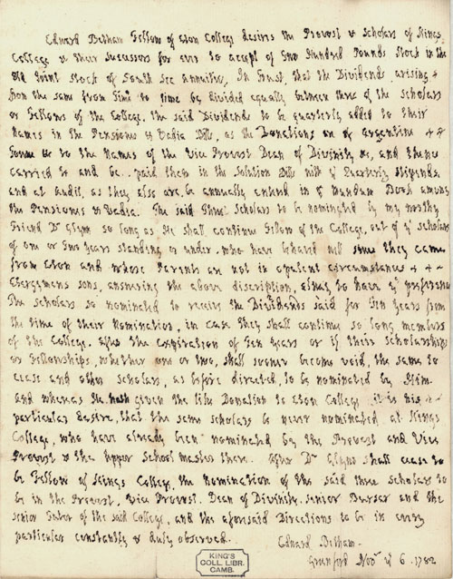 Manuscript of Edward Betham offering the College two hundred pounds' worth of stock in South Sea Annuities, dated 6 November 1782 (Coll. 24. 9b).