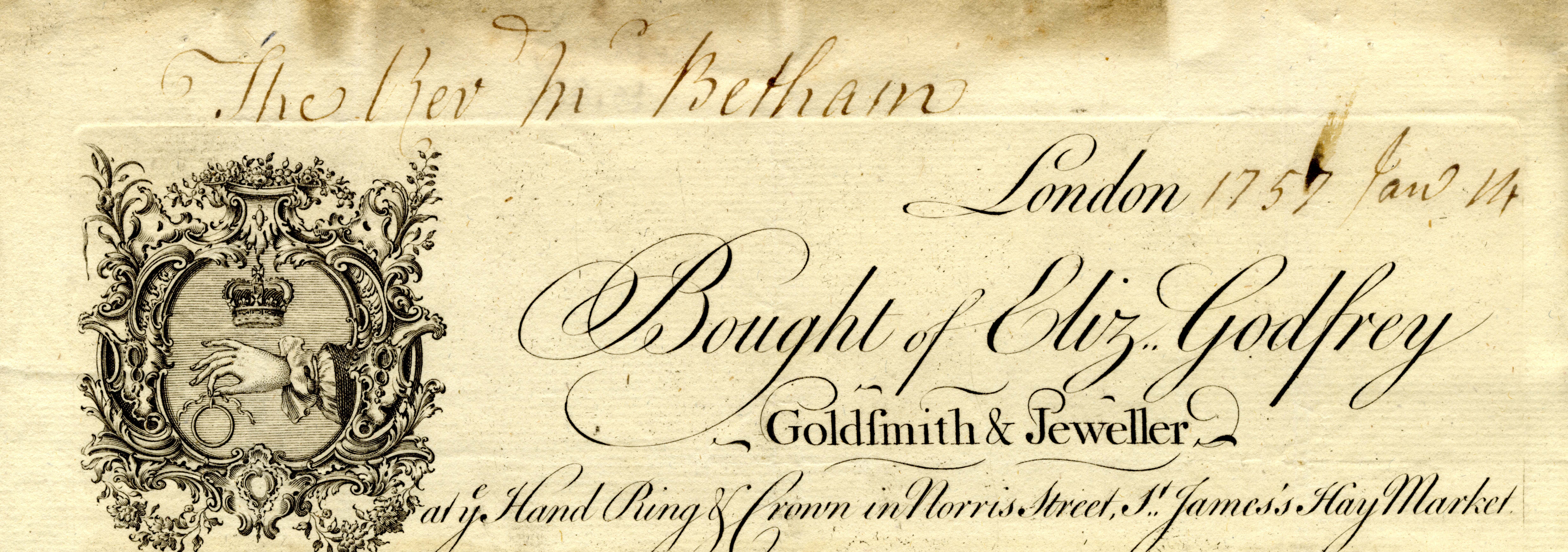 Receipt for engraving six coats of arms and inscriptions, 1757.
