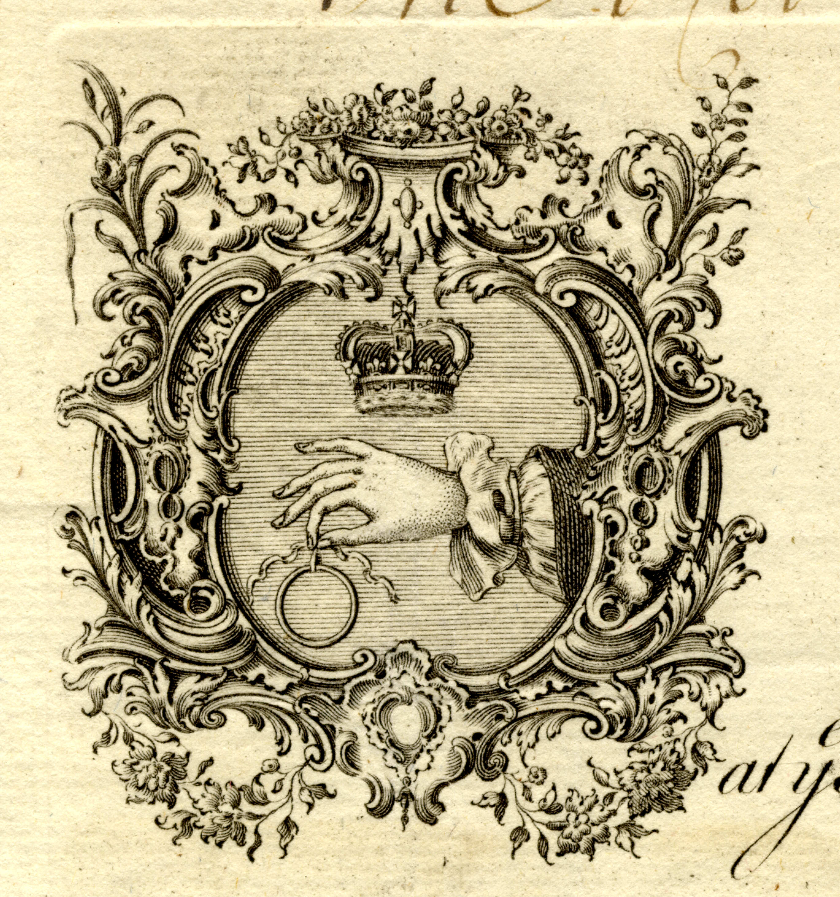 Crest of Elizabeth Godfrey - at the Hand Ring & Crown in Norris St., St James's, Haymarket (detail of previous receipt).