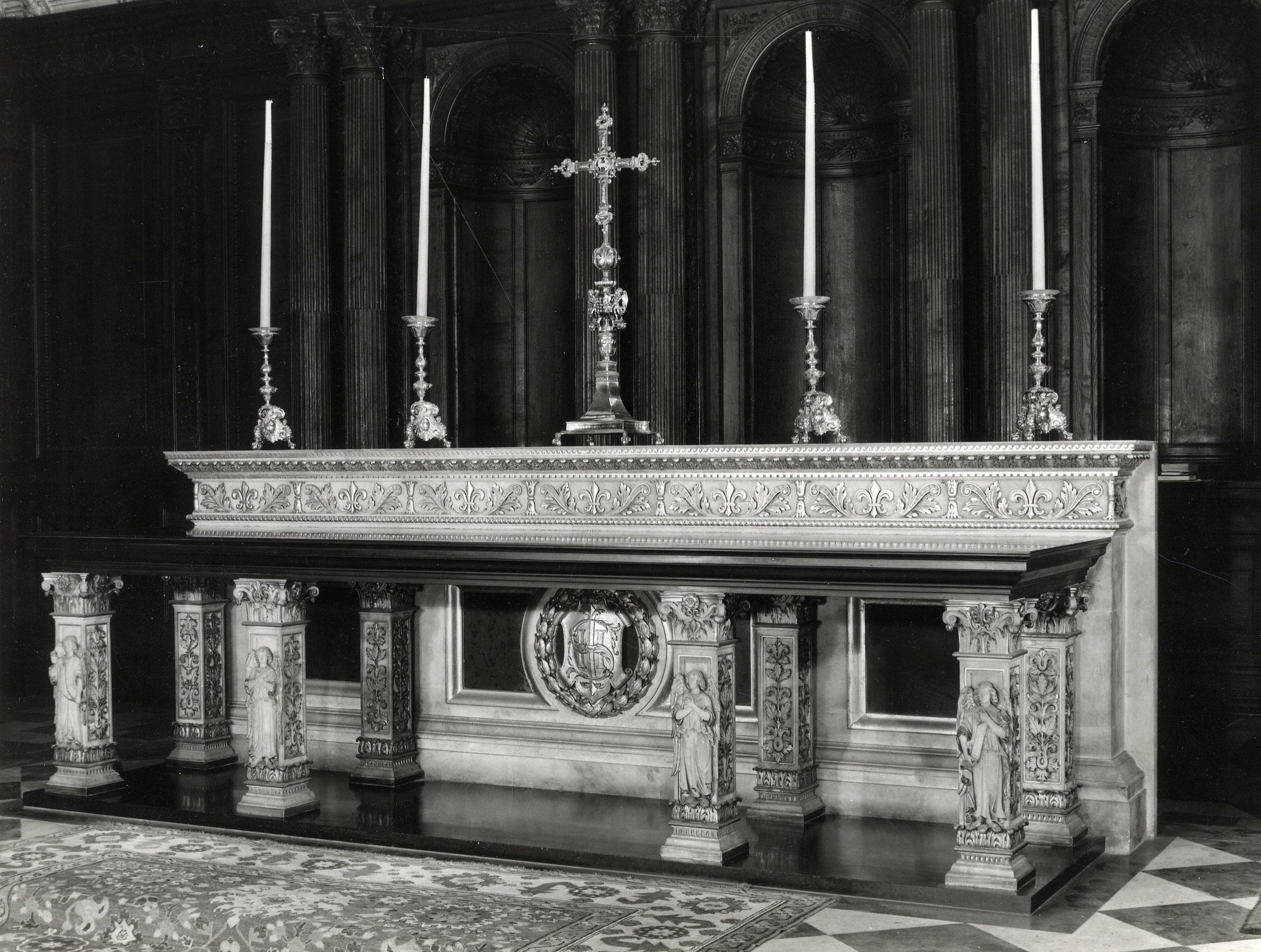Photograph of the high altar, 1956. (Coll Photo 715. Photographer: Edward Leigh.)