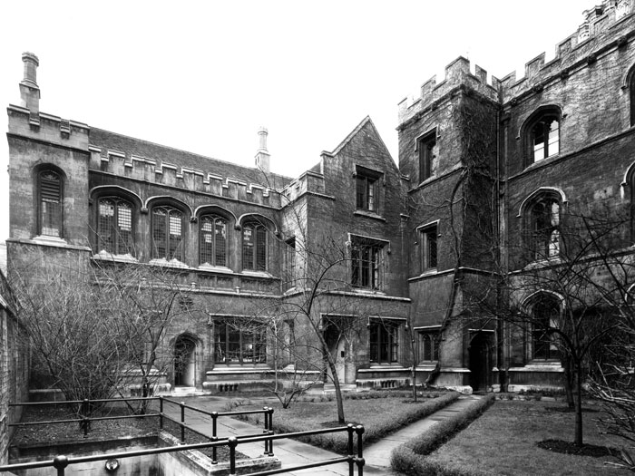 Chetwynd Court showing B staircase (Wilkins Building), railings to 'the Drain' passing under King's Lane, and the east side of Fawcett's building (?Edward Leigh, c. 1960-1964; Coll-Ph-1149)
