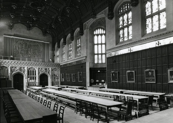 The Hall before the screen was moved (taken by Edward Leigh, 1955; Coll Ph 1219)
