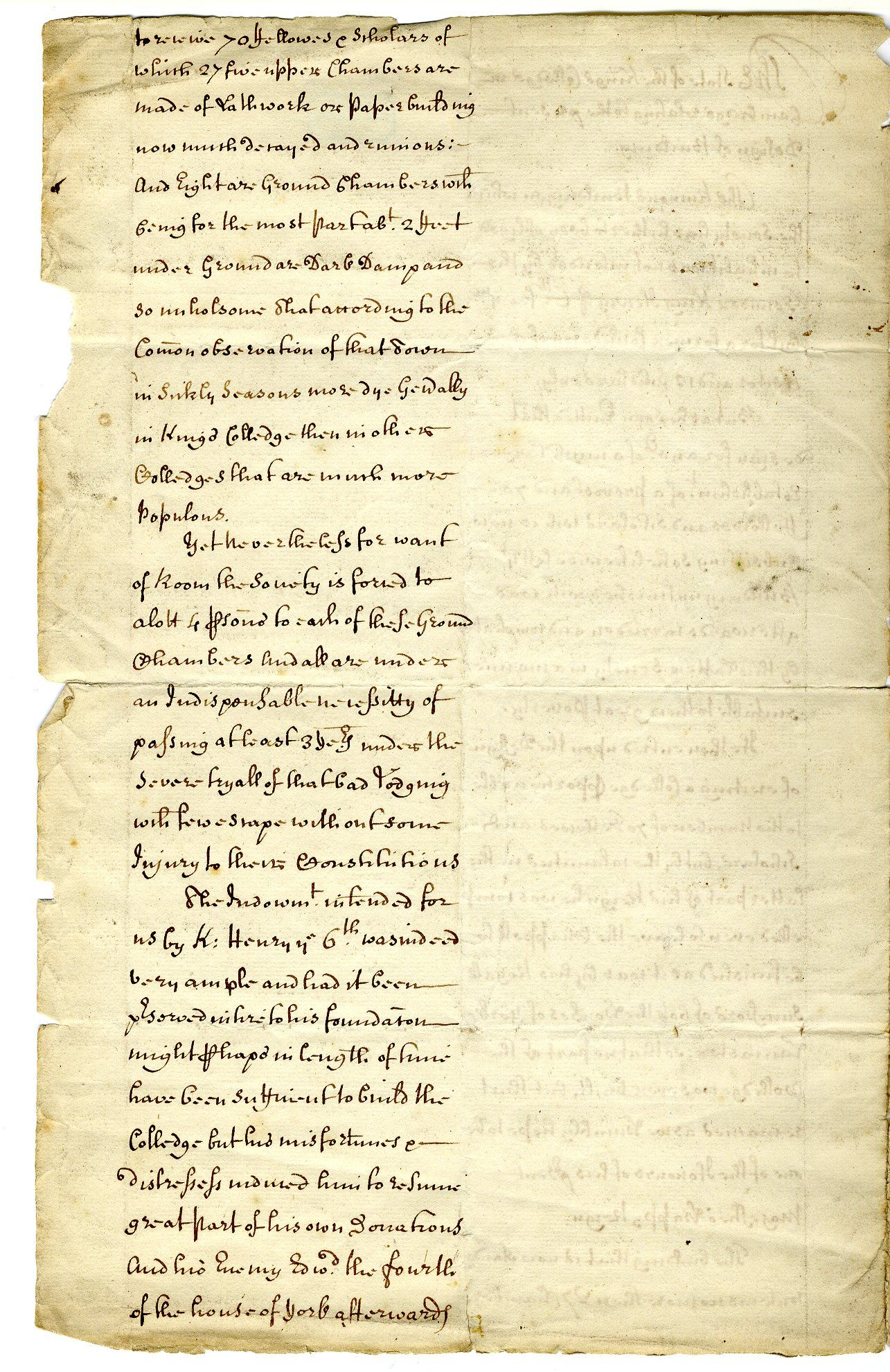 Second page of 'The State of the King's Colledge [sic] in Cambridge relating to the present design of building'. A petition to the King for his patronage of the new building scheme, 1600-1700. [GIB/1/2, former ref Coll 1/56]