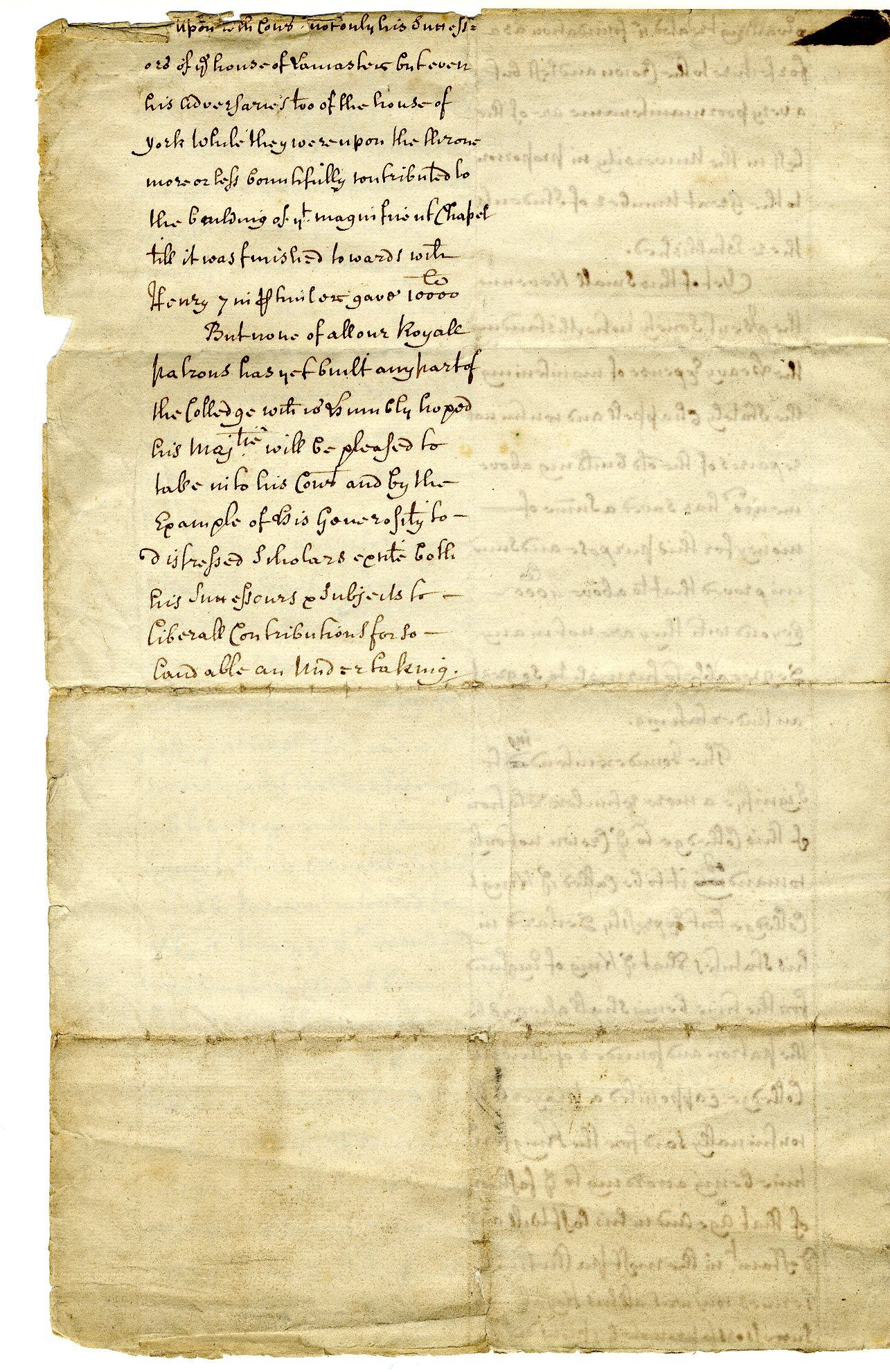 Fourth page of 'The State of the King's Colledge [sic] in Cambridge relating to the present design of building'. A petition to the King for his patronage of the new building scheme, 1600-1700. [GIB/1/2, former ref Coll 1/56]