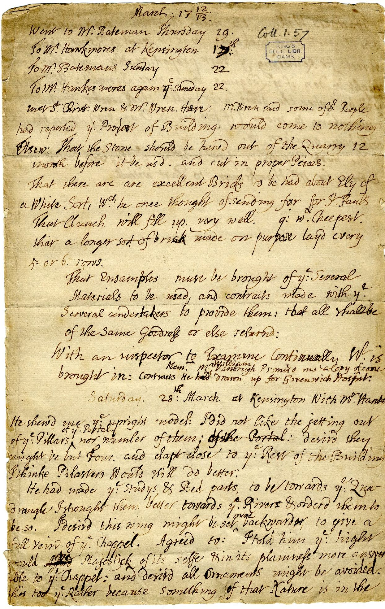 First page of a memorandum from Provost John Adams, relating to his discussion with Nicholas Hawksmoor and Christopher Wren on the new building, March 1713.  [GIB/1/4, former ref Coll 1/57]