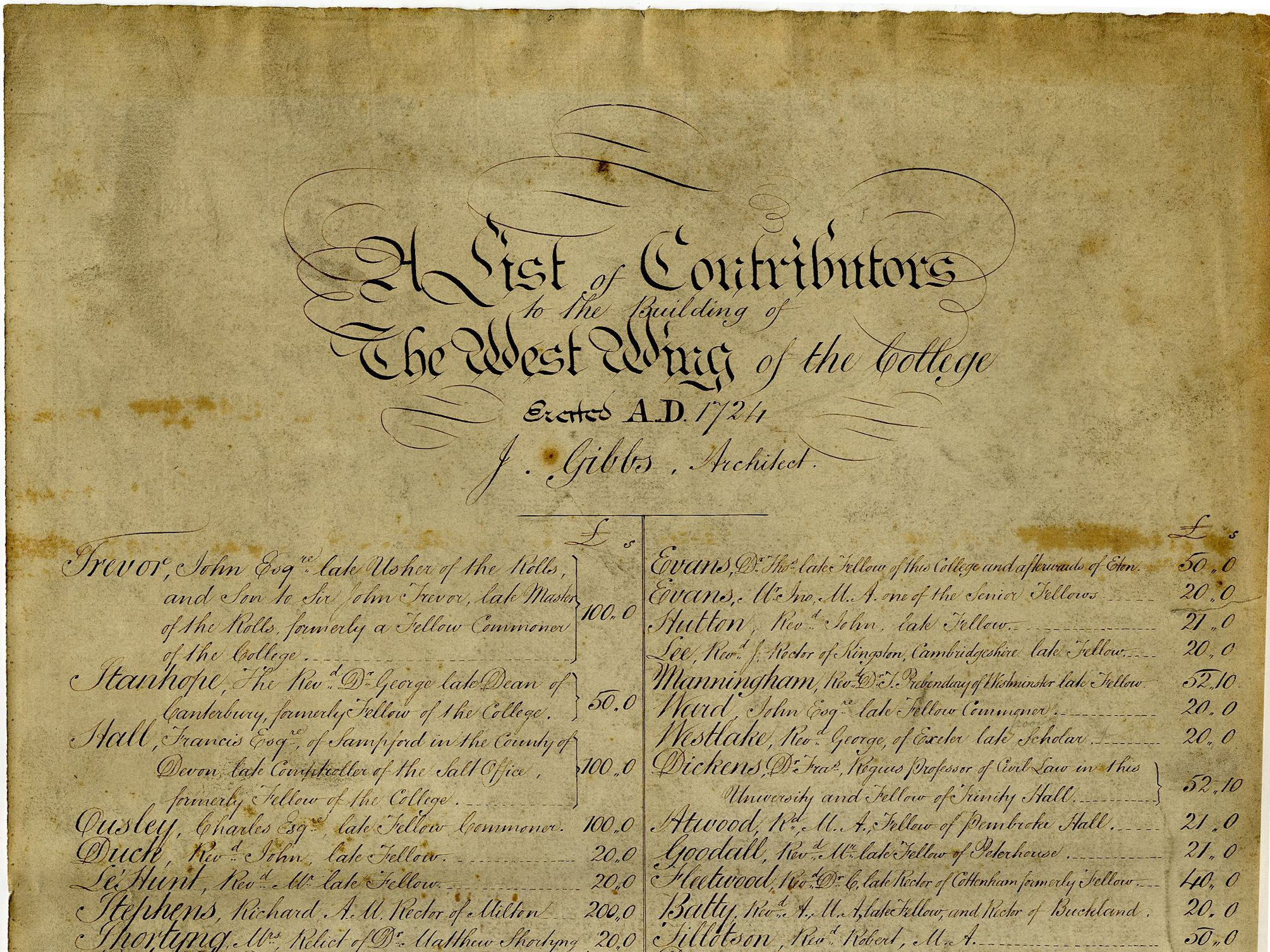 Upper half of the 'List of Contributors to the West Wing of the College Erected A.D. 1724' [Coll 1.85]