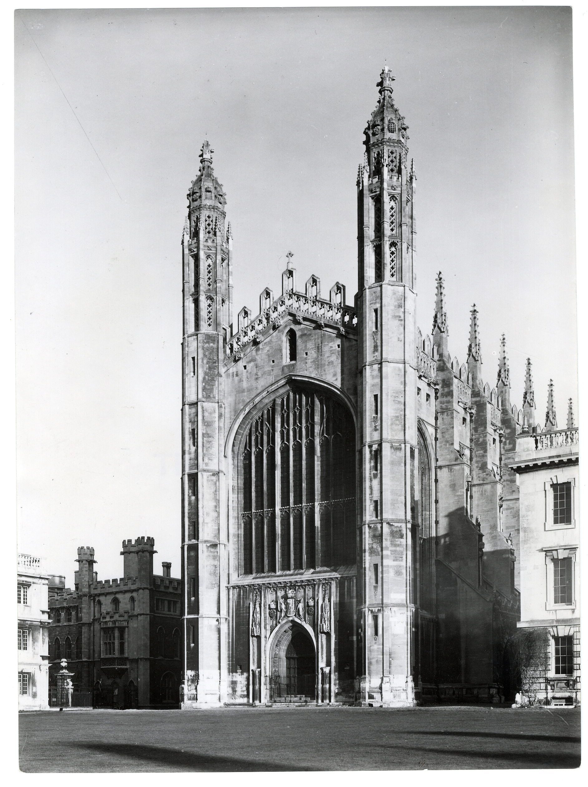 West front of Chapel, showing the stone used in the first period (the paler stone at the base of the towers). Photograph: RCHM, 1949. [Coll-Ph-757]
