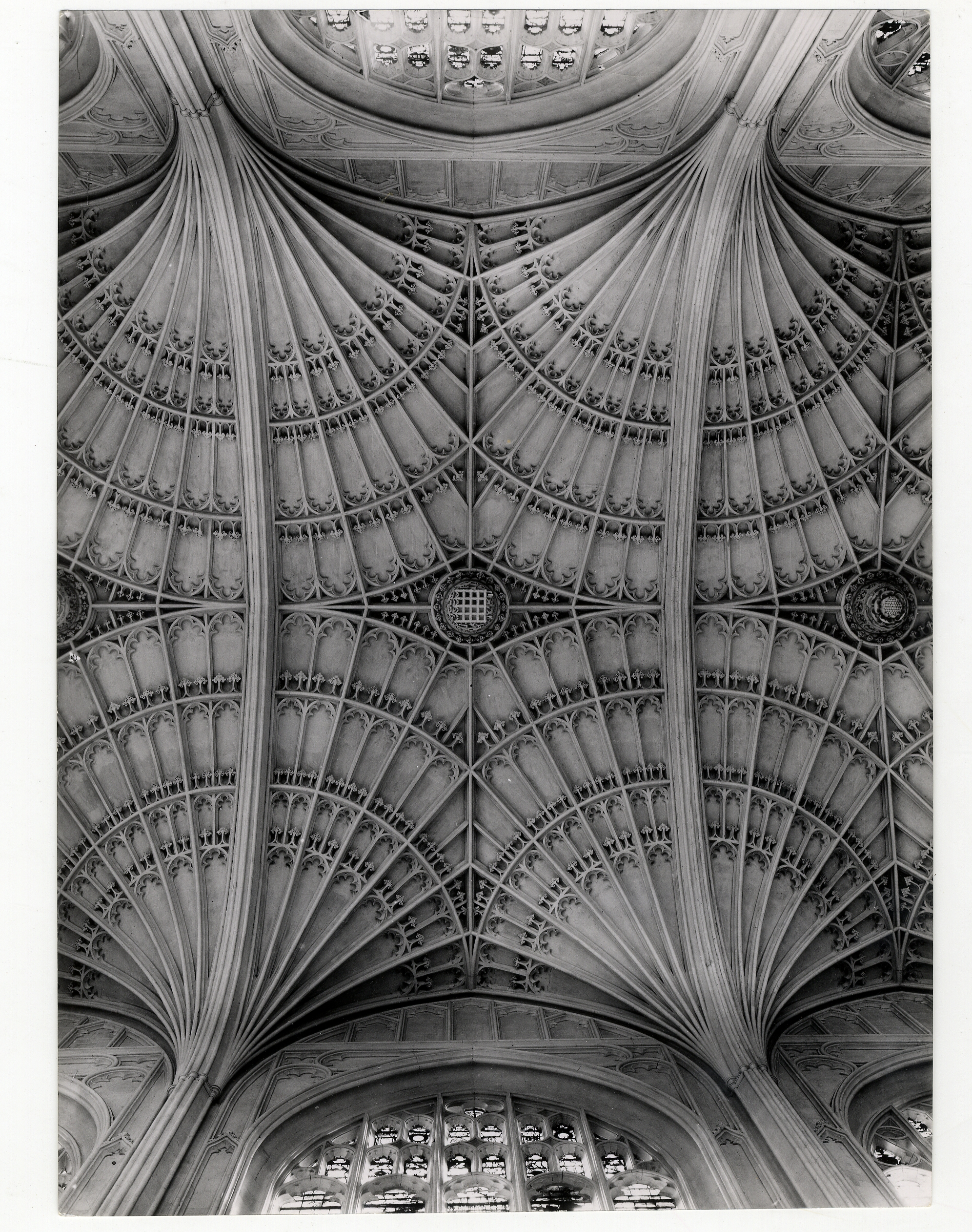 A bay of the vaulting at the east end of the Chapel. Photograph: RCHM, 1949. [Coll-Ph-740]